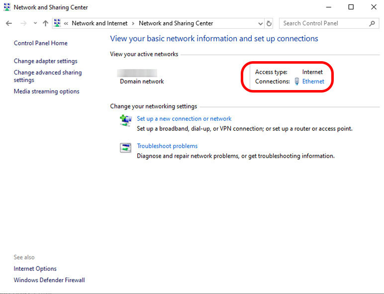 Click ethernet option under network and sharing window