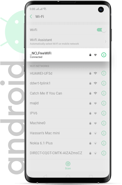 Newcastle Airport wifi Android