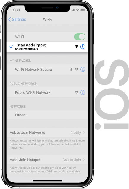 Stansted Airport Wifi IOS