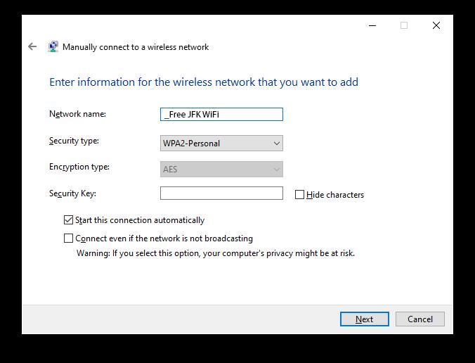 JFK Free WiFi Windows