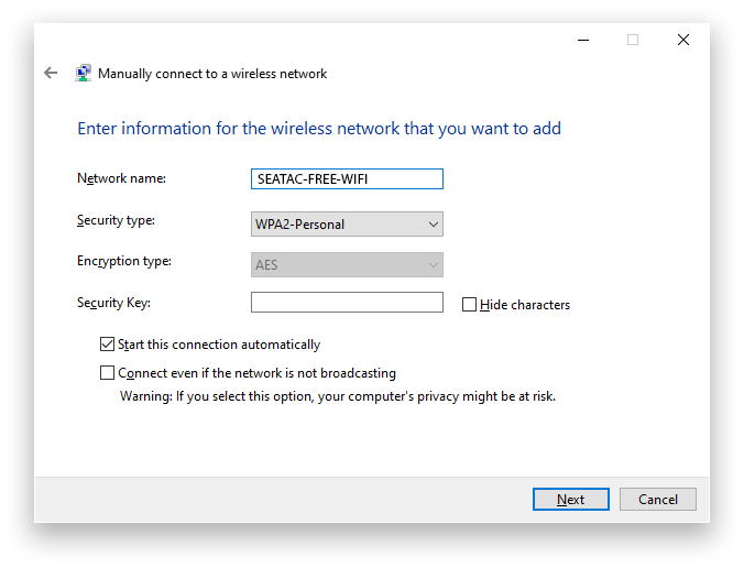 Seaetac WiFi Windows